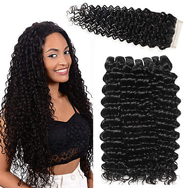 3 Bundles with Closure Brazilian Hair Deep Curly Human Hair Weave Hair Weft  with Closure 10 b08e7c2a8b