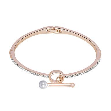 baratos Bangle-Mulheres Bracelete Nome Europeu Romântico Imitação de Pérola Pulseira de jóias Prata / Ouro Rose Para Diário Festival