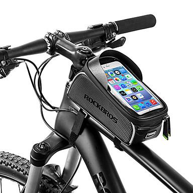 billige Sykkelvesker-ROCKBROS Mobilveske Vesker til sykkelramme 6 tommers Vanntett Bærbar Sykling til iPhone X iPhone XR iPhone XS Svart Sykkel / iPhone XS Max
