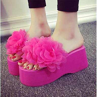 voordelige Damespantoffels & slippers-Dames Slippers & Flip-Flops Sleehak Open teen  POM Pom PU Zoet / minimalisme Lente Wit / Zwart / Fuchsia