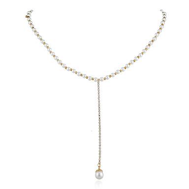 abordables Collier-Collier Cravate Collier de perles Femme Classique Perle Perle d'or Coréen Mignon Blanc 40 cm Colliers Tendance Bijoux 1pc pour Plein Air