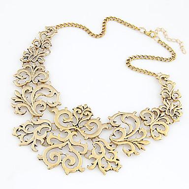 baratos Bijuteria de Mulher-Mulheres Colares Declaração Floral Vintage Europeu Fashion Chunky cromada Dourado Prata 40 cm Colar Jóias 1pç Para Diário