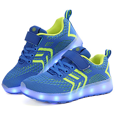 cheap Kids' Athletic shoes-Boys' Shoes Knit Spring / Fall Light Up Shoes Athletic Shoes Walking Shoes Buckle / LED for Kids Blue / Pink / Black / Red