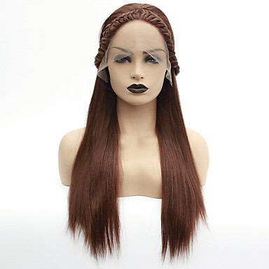 Pruik Lace Front Synthetisch Haar Dames Havana Twist Bruin Middelste stuk Synthetisch haar 22-26 inch(es) Hittebestendig / Dames / Middenscheiding Bruin Pruik Lang Lijmloze / Kanten Voorkant medium