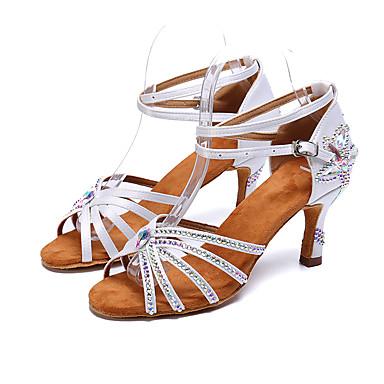 نسائي ستان أحذية رقص بريق مميز / مشبك / تفاصيل كريستال كعب كعب مثير مخصص أبيض / أسود / بني / أداء / جلد