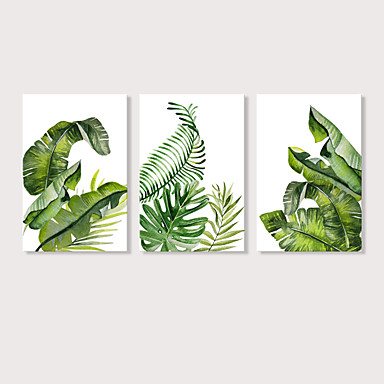 abordables Toiles-Imprimé Impression sur Toile - Botanique A fleurs / Botanique Moderne Trois Panneaux Art Prints