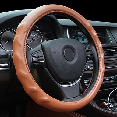voordelige Auto-interieur accessoires-massage textuur lederen stalen ring wielkap voor 15 inch wielmaat auto