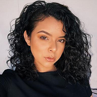 Φυσικά μαλλιά Δαντέλα Μπροστά Περούκα Βραζιλιάνικη Σγουρά Κυματιστό Μαύρο Περούκα Κούρεμα καρέ Σύντομο βαρίδι 130% Πυκνότητα μαλλιών / Φυσική γραμμή των μαλλιών / 100% δεμένη στο χέρι
