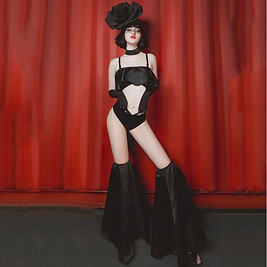 ชุดเต้นรำ Dancewear แปลกใหม่ / Nightcub Jumpsuits สำหรับผู้หญิง Performance สแปนเด็กซ์ กระโปรงระบาย เสื้อไม่มีแขน ปรับตัวลดลง ชุดชั้นใน / ถุงเท้า / กางเกงขาสั้น