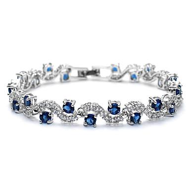 abordables Bracelet-Bracelets Tennis Rivière de Diamants Femme Classique Zircon cubique Strass Précieux Luxe Doux Mode Tous les jours Bracelet Bijoux Rouge Vert Bleu Forme de Cercle pour Mariage Cadeau