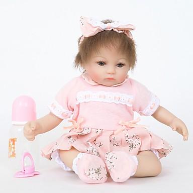 abordables Muñecas reborn-FeelWind Muñecas reborn Muñeca chica Bebés Niñas 18 pulgada Silicona Vinilo - natural Hecho a Mano Bonito Niños / Adolescentes No tóxico Kid de Unisex Juguet Regalo