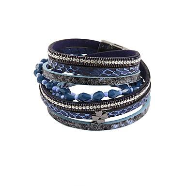 baratos Pulseiras de couro-Mulheres Pulseiras de couro Contas Vintage PU Leather Pulseira de jóias Azul Para Festa Diário