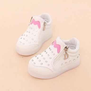 voordelige Babyschoenentjes-Meisjes Comfortabel / Oplichtende schoenen PU Sneakers Peuter (9m-4ys) / Little Kids (4-7ys) Strass / Rits Zwart / Rood / Roze Herfst winter / Rubber