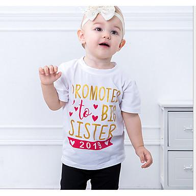 baratos Blusas para Meninas-Infantil Para Meninas Básico Diário Sólido Manga Curta Padrão Algodão Blusa Branco