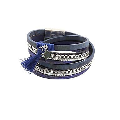 baratos Pulseiras de couro-Mulheres Pulseiras de couro Multi Camadas Vintage PU Leather Pulseira de jóias Azul Para Presente Diário