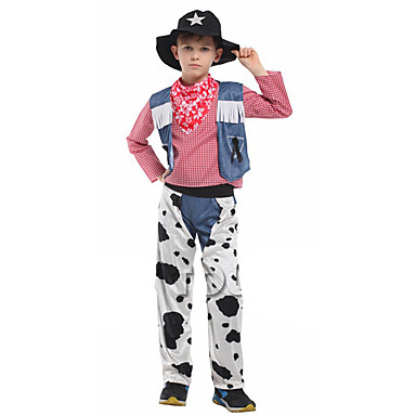 מערב מערב קאובוי קאובוי תחפושות בנים בגדי ריקוד ילדים תלבושות פעיל חג המולד האלווין (ליל כל הקדושים) קרנבל פסטיבל / חג polyster תלבושות לבן ג'ינסים