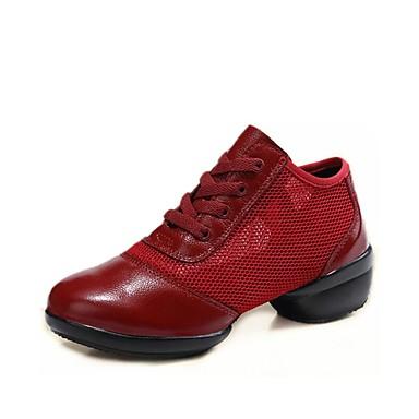 Metodico Per Donna Sneakers Da Danza Moderna Di Pelle - Retato Sneaker Tacco Spesso Personalizzabile Scarpe Da Ballo Bianco - Nero - Rosso #07089477 Long Performance Life