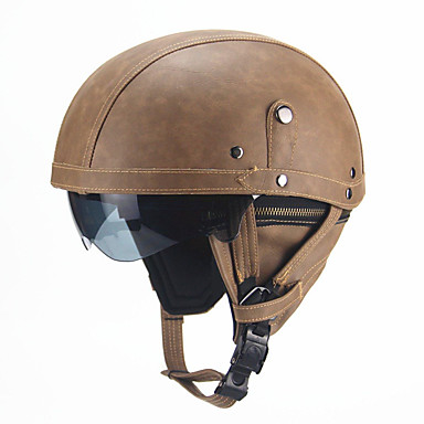 cheap Automotive-Retro PU Motorcycle Half Helmet Open Face With Visor Motorbike Scooter Cruise Safety