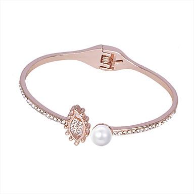 baratos Bangle-Mulheres Bracelete Incompatível Simples Imitação de Pérola Pulseira de jóias Prata / Ouro Rose Para Carnaval Bandagem Bagels