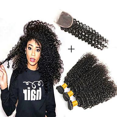 voordelige Weaves van echt haar-3 bundels met sluiting Braziliaans haar Maleisisch haar Kinky Curly Onbehandeld haar Mensen Remy Haar Menselijk haar weeft Kostuumaccessoire Bundle Hair 8-20 inch(es) Natuurlijke Kleur Menselijk haar