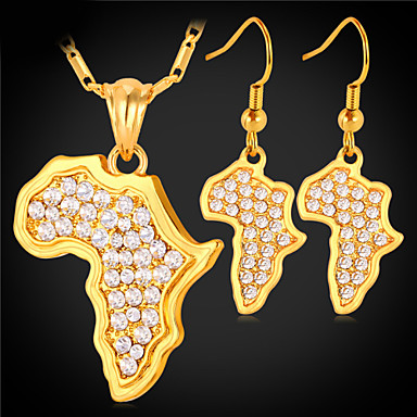 baratos Bijuteria de Mulher-Mulheres Diamante sintético Mapas senhoras Africa africano Cristal Ouro Strass Brincos Jóias Dourado / Prata Para Casamento Diário