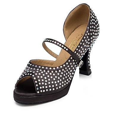 baratos Sapatos de Salsa-Mulheres Sapatos de Dança Cetim Sapatos de Dança Latina Pedrarias Salto Salto Alto Magro Personalizável Preto / Espetáculo / Couro
