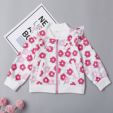 62e812b2 Toddler Girls' Active Basic Daily Going out Floral Print Long Sleeve Long  Cotton Spandex Suit & Blazer Blushing Pink