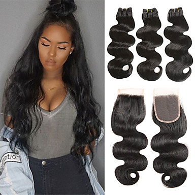 cheap Human Hair Weaves-3 Bundles with Closure Brazilian Hair Body Wave Remy Human Hair Human Hair Extensions Hair Weft with Closure 8-26 inch Natural Human Hair Weaves Soft Best Quality New Arrival Human Hair Extensions