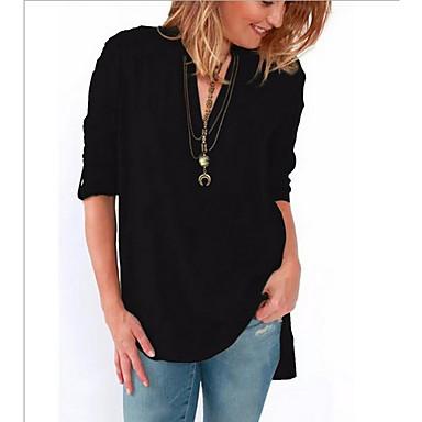 ราคาถูก สินค้ามาใหม่-สำหรับผู้หญิง ขนาดพิเศษ เชิร์ต ผ้าชีฟอง คอวี สีพื้น สีบานเย็น XXXL / ฤดูใบไม้ผลิ / ฤดูร้อน / ตก / ฤดูหนาว