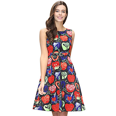 770d96beecd Audrey Hepburn Polka Dots Retro   Vintage 1950s Costume Women s Dress White    Black   Red Vintage Cosplay Sleeveless Knee Length 7065432 2019 –  20.39
