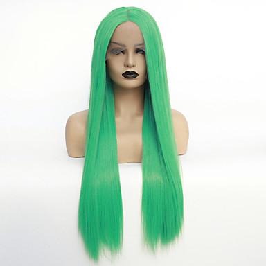 Συνθετικές μπροστινές περούκες δαντέλας / Ombre Ίσιο Πράσινο Μέσο μέρος Πράσινο Συνθετικά μαλλιά 22-26 inch Γυναικεία Ανθεκτικό στη Ζέστη / Γυναικεία / Hot Πώληση Πράσινο Περούκα Μακρύ Δαντέλα Μπροστά