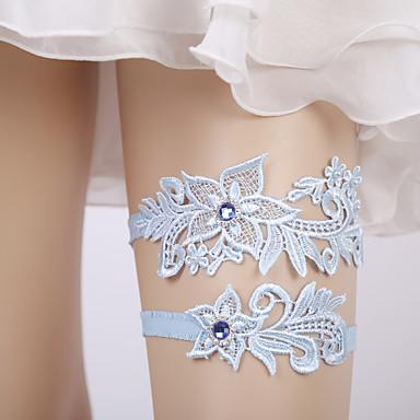 ลูกไม้ ลูกไม้ / เกี่ยวกับเจ้าสาว Wedding Garter กับ ดอกไม้ / คริสตัล / พลอยเทียมต่างๆ สายรัด งานแต่งงาน / ปาร์ตี้
