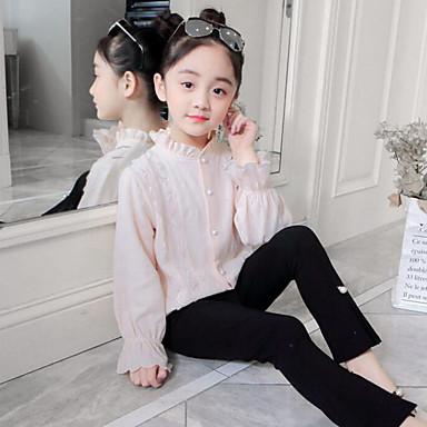 baratos Blusas para Meninas-Infantil Para Meninas Activo Moda de Rua Diário Para Noite Listrado Frufru Bordado Manga Longa Padrão Camisa Bege