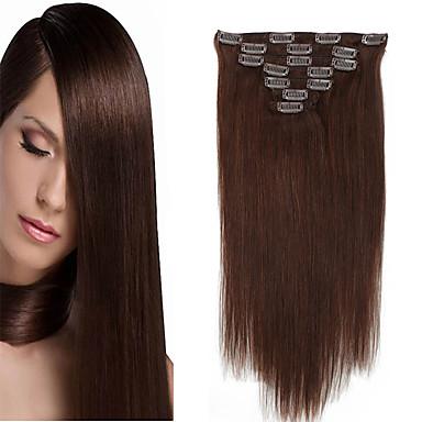 cheap Human Hair Extensions-Clip In Human Hair Extensions Straight Human Hair Human Hair Extensions 14-20 inch Natural Black Blonde Golden Brown / Bleach Blonde / 8A / Medium Brown