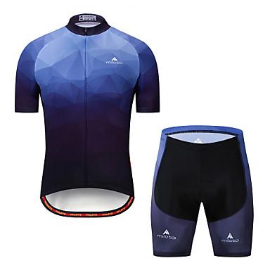 Miloto สำหรับผู้ชาย แขนสั้น Cycling Jersey with Shorts - การอำพราง จักรยาน เสื้อยืด แป้นสั้น ชุดออกกำลังกาย ระบายอากาศ Moisture Wicking แถบสะท้อนแสง กีฬา เสื้อผ้าถัก