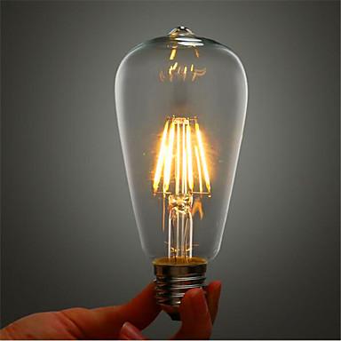 abordables Ampoules électriques-1pc 4 W Ampoules à Filament LED 380 lm E26 / E27 ST64 4 Perles LED COB Décorative Blanc Chaud 220-240 V / RoHs