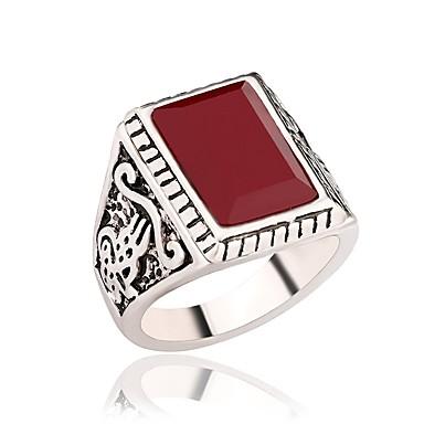 voordelige Herensieraden-Heren Dames Ring Verlovingsring Zegelring 1pc Zwart Rood Hars Legering Militair Lahja Dagelijks Sieraden Vintagestijl Schattig