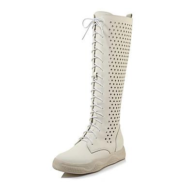 93b4c8f033cd Women s Microfiber Fall Boots Flat Heel Round Toe Knee High Boots White    Black   Wedding   Party   Evening