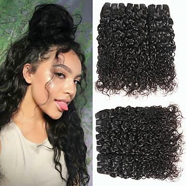 6 pakettia Brasilialainen Vesiaalto Remy-hius Headpiece Hiukset kutoo Bundle Hair 8-28 inch Luonnollinen väri Hiukset kutoo Hajuton Silkkinen Uusi malli Hiukset Extensions Naisten