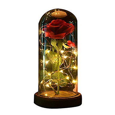 cheap Lamps&Lights-1pc Beauty and The Beast Rose Rose and LED Light with Fallen Petals in Glass Dome on a Wooden Base Gift for Her - Holiday Birthday Party Wedding