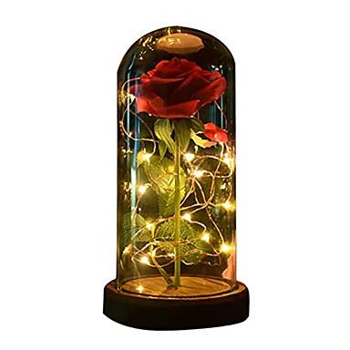 economico Luci decorative-1pc bellezza e la bestia rosa e luce led con petali caduti in cupola di vetro su un regalo base di legno per lei - festa di compleanno festa di nozze
