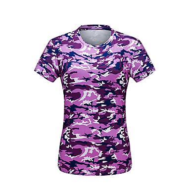 Naisten naamiointi T-paita vaellukseen Lyhythihainen Ulko- UV-vastustuskykyinen Erikoiskevyt(UL) Nopea kuivuminen Pehmeä T-paita Topit Kevät Kesä Polyesteritafti Tiukka pyöreä kaula-aukko Fuksia
