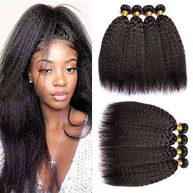 baratos Extensões de Cabelo Natural-6 pacotes Cabelo Malaio Liso Yaki 100% Remy Hair Weave Bundles Peça para Cabeça Cabelo Humano Ondulado Cabelo Bundle 8-28 polegada Côr Natural Tramas de cabelo humano Sem Cheiros Macio Sedoso