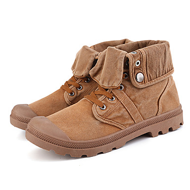Men's Fashion Boots Canvas Spring & Summer Classic / Casual Boots Non-slipping Booties / Ankle Boots Gray / Army Green / Camel