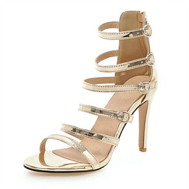cheap Women's Shoes New Arrivals-Women's PU(Polyurethane) Spring & Summer Sandals Stiletto Heel Open Toe White / Black / Silver / Wedding / Party & Evening