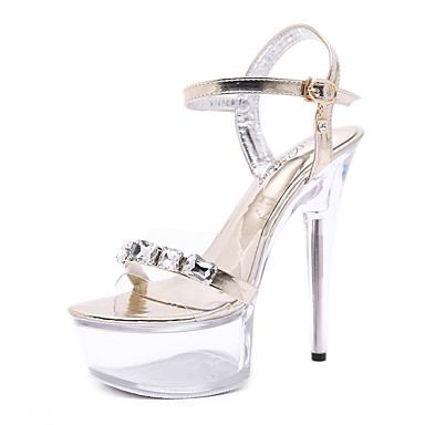 cheap Women's Shoes New Arrivals-Women's PU(Polyurethane) Summer Sandals Stiletto Heel Open Toe Crystal Gold / Silver / Party & Evening