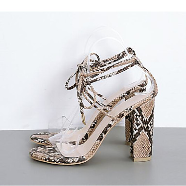 cheap Women's Shoes New Arrivals-Women's Faux Leather / Snakeskin Spring & Summer Casual Sandals Chunky Heel Peep Toe Animal Print White / Almond