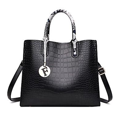 hesapli Çantalar-Kadın's Çantalar PU Üstten Saplı Çanta Düğme / Fermuar için Randevu / Dış mekan İlkbahar yaz / Sonbahar Kış Siyah / YAKUT / Gri / Yılan Derisi