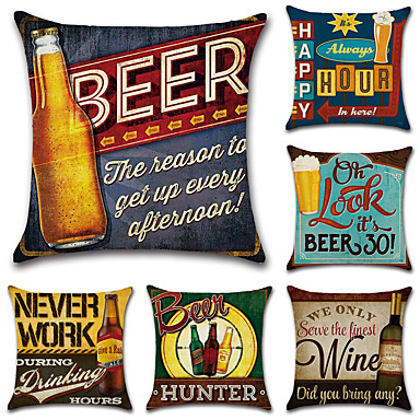 Prime 6 Pcs Cotton Linen Pillow Case Retro Quotes Sayings Ocoug Best Dining Table And Chair Ideas Images Ocougorg