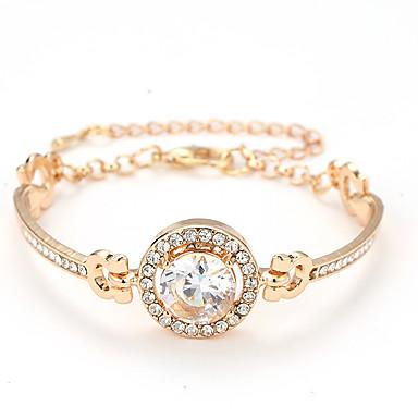 baratos Bangle-Mulheres Bracelete Clássico Círculo Barato Estiloso Elegante Liga Pulseira de jóias Dourado / Prata / Ouro Rose Para Diário Encontro namorados